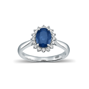 Devous Blue Sapphire Rosette Ring with White Diamonds